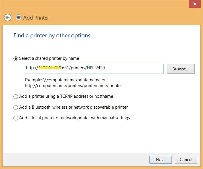 Windows 新增 CUPS 印表機