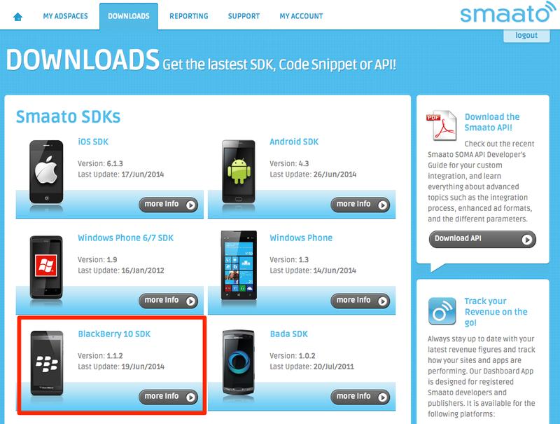 Smaato - Advertisement service for BlackBerry 10 Cascades