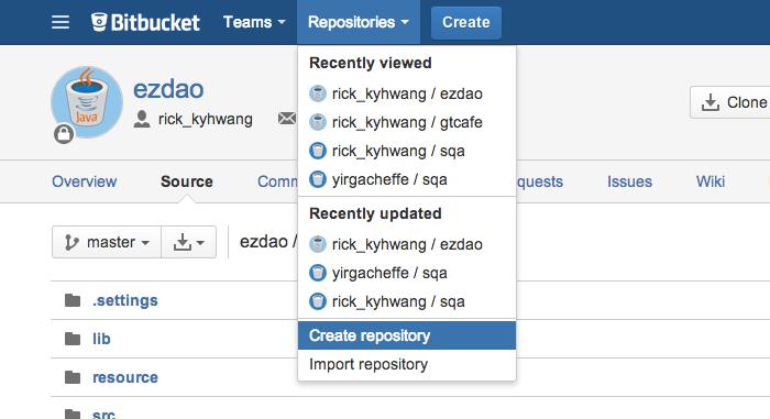 Create repository in bitbucket
