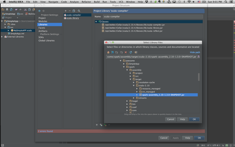 Configure Spark with IntelliJ « Hackers and Duffers