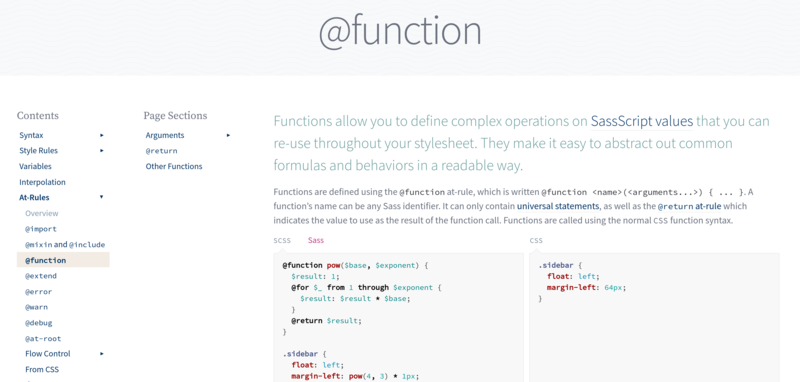 A preview of the function documentation page.