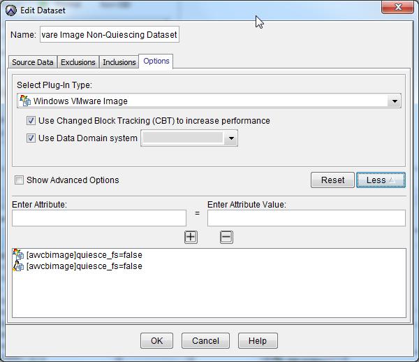 Disable Quiescing of VMware Image Backups in Avamar Dataset
