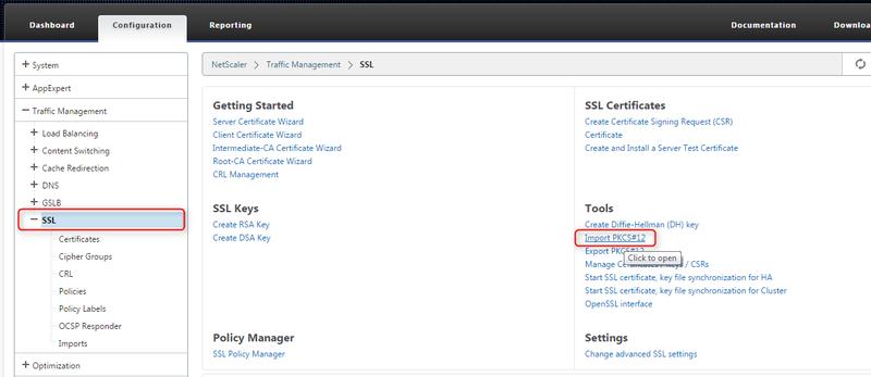 Add PFX Certificate to NetScaler 10 5 « Dan's Notes
